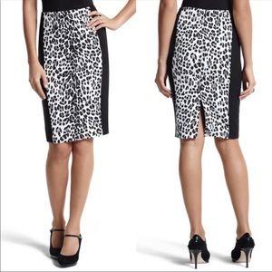 WHBM Animal Print B&W Pencil Skirt Sz 6